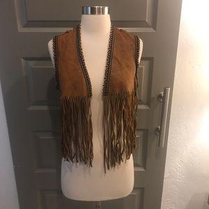Vintage Leather Fringe Vest